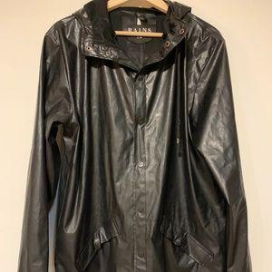 Rains Black Waterproof Hooded Jacket Rain Coat